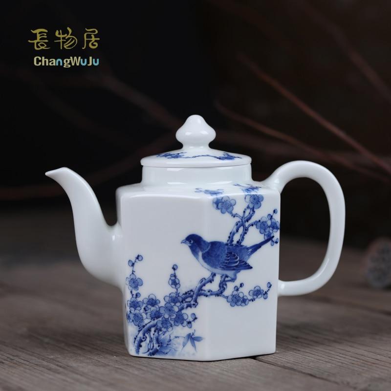 Théière Changwuju Jinhdezhen JinHongxia théière à la main peinte en bleu et blanc théière à la main avec pinceau fin fleur-oiseau