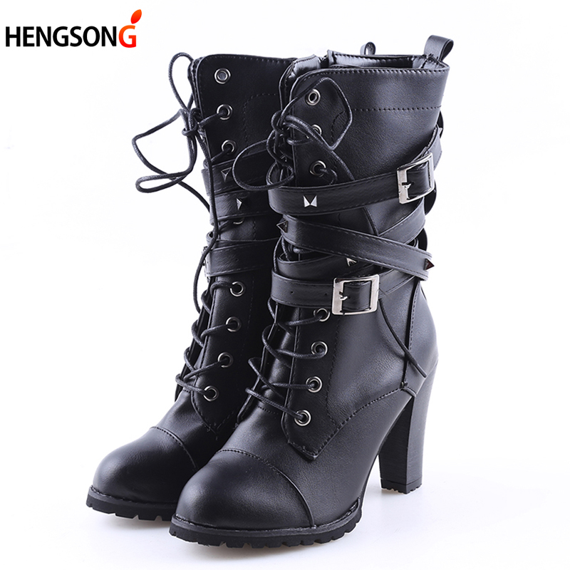 2018 Spring Women Ankle Boots Black Motorcycle Lace-Up Boot Thin High Heel Double Buckle Punk Style Platform Botas Mujer Size 43 euro style spring autumn women ankle boots platforms square heel ankle boots lace up fashion motorcycle boots martin shoes