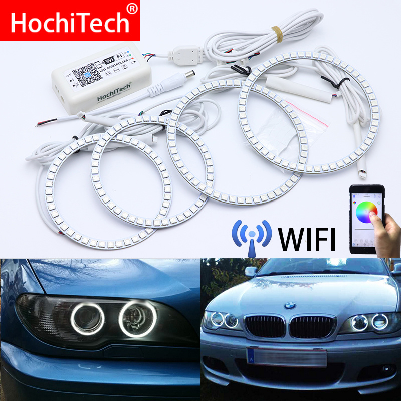 Wifi Wireless RGB Multi-Color LED Angel Eye Halo Rings Day Light For BMW 3 Series E46 Convertible Coupe Cabrio 2004 2005 2006Wifi Wireless RGB Multi-Color LED Angel Eye Halo Rings Day Light For BMW 3 Series E46 Convertible Coupe Cabrio 2004 2005 2006