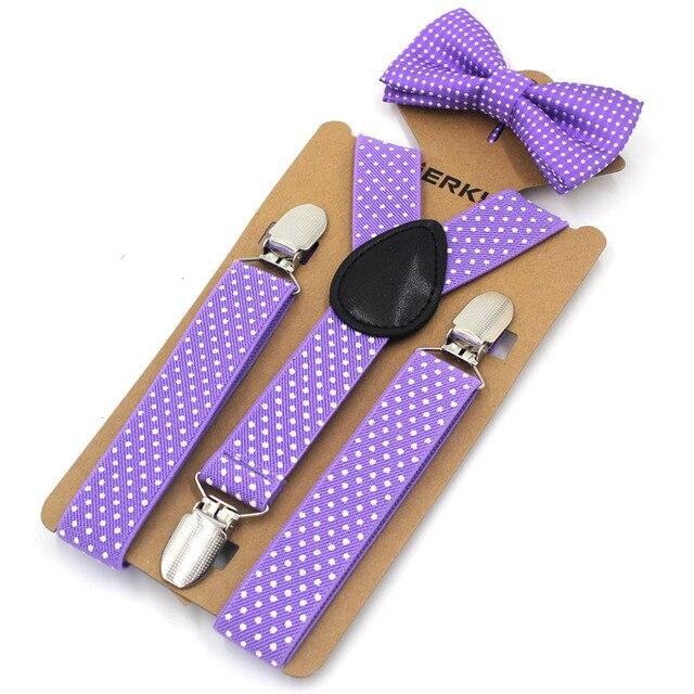 8ca1687df8ba0 Violet bébé bretelles mode enfants bretelles noeud papillon ensemble  Clips-sur bretelles enfants bretelles élastique