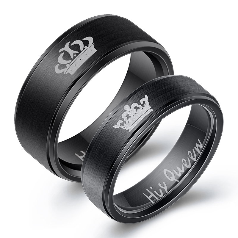 Women His Queen Stainless steel Ring Silver Color Simple Design Her King Couple Ring Wedding Ring for Female Men 5