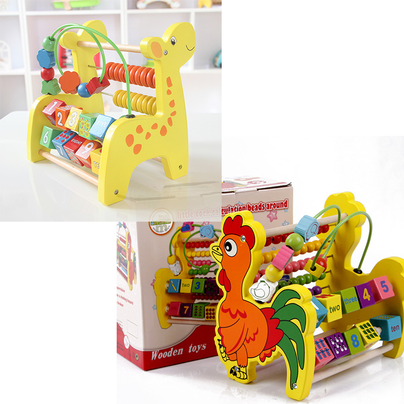 Children Kids Baby Colorful Wooden Mini Around Beads Math Toys Educational Game Toys Giraffe Big Cock 1 pcs mini around beads baby wooden toy educational children kids infant colorful mini cute cartoon elephant gift toy