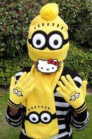 3 cái/bộ Brand new Hot Bán cao chất lượng Trẻ Em Mùa Đông Cartoon minions dệt kim mũ + găng tay + khăn Trẻ Em món quà sáng tạo