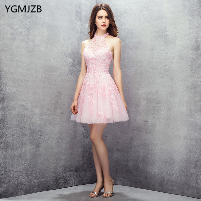 New Fashion Pink   Cocktail     Dresses   2018 A Line Halter Backless Beaded Lace Mini Short   Dress   Women Formal Party   Cocktail     Dress