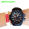 SANDA 759 brand men military sports watches dual display analog digital LED Electronic quartz watches waterproof swimming watch