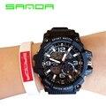 Sanda 759 marca hombres deportes militares relojes dual display analógico digital led relojes electrónicos de cuarzo reloj natación impermeable