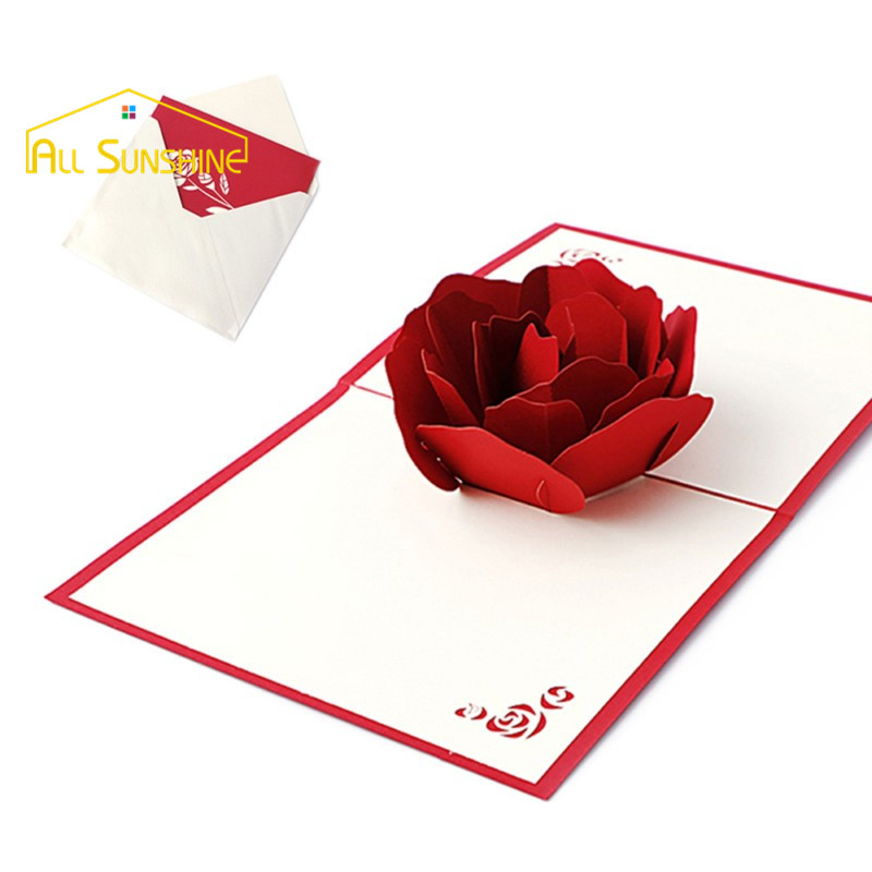 Handicraft 3D Pop Up Stereoscopic Holiday Greeting Cards Red Rose Flower  Wedding Invitations Card Postcards Carte