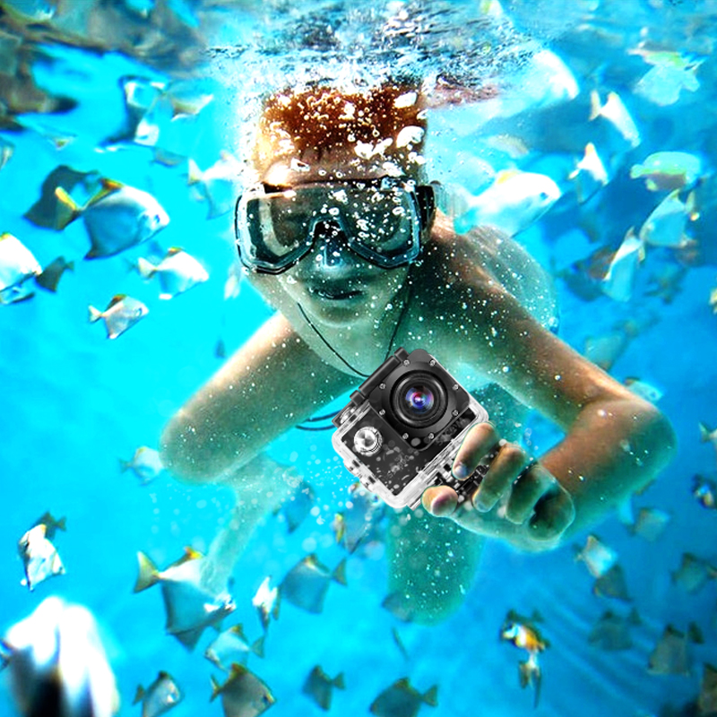 Galleria fotografica HD Outdoor Mini Sport Action Camera 1080P Waterproof Cam DV gopro style go pro with Screen Full Color Water resistant