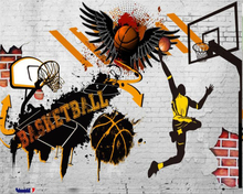 Beibehang Custom Wallpaper Living Room Bedroom Background 3d Vintage Cement Wall NBA Ink Basketball mural