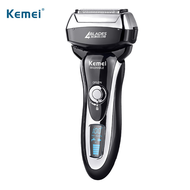 Kemei Electric Shaver 4 Blades Waterproof IPX6 LCD Display Rechargeable 4D Floating Shaving Razor For Men Face Care