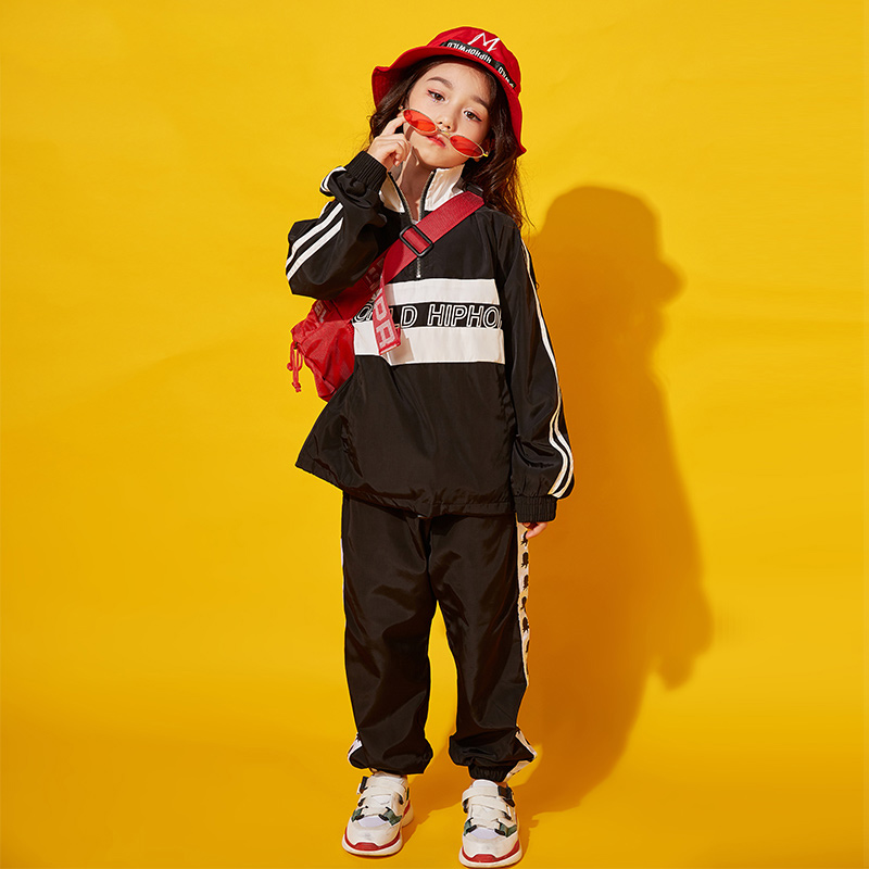 Jazz Dance Costumes For Girls Hip Hop Stress Dance Costume Clothing Children Black Sleeves And Pants Stage Dancewear DQS1025