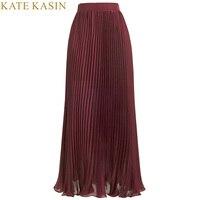 Kate Kasin Elegante Saia de Tule Mulheres Vinho Vermelho Sólido de Alta cintura Plissado Chiffon BohoTutu Saias Maxi Longas Mulheres Faldas saia Jupe