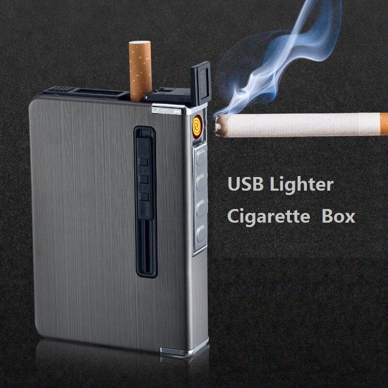 Empuje de metal caja de cigarrillos con USB mechero electrónico sin llama a prueba de viento antorcha encendedor ciagrette titular gadgets para hombres