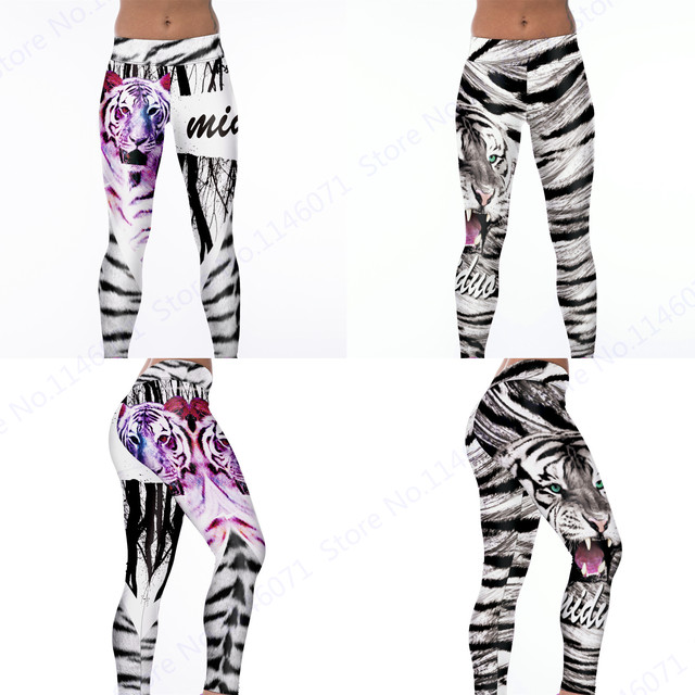 3d543d898cc6e Scarlet Rose Red Tiger Yoga Pilates Pants Wild Tiger Leopard Fitness Sports Leggings  Women White Running Tights Slim Ninth Pants