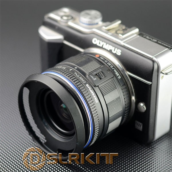 DSLRKIT 40.5mm Metal Vented Lens Hood for Canon Nikon Pentax Sony,Color Silver