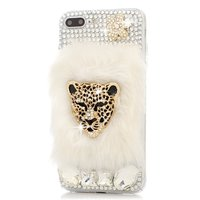 Handmade Bling Crystal Luxury Golden Leopard Head With Rabbit Fur TPU Soft Phone Case Cover For