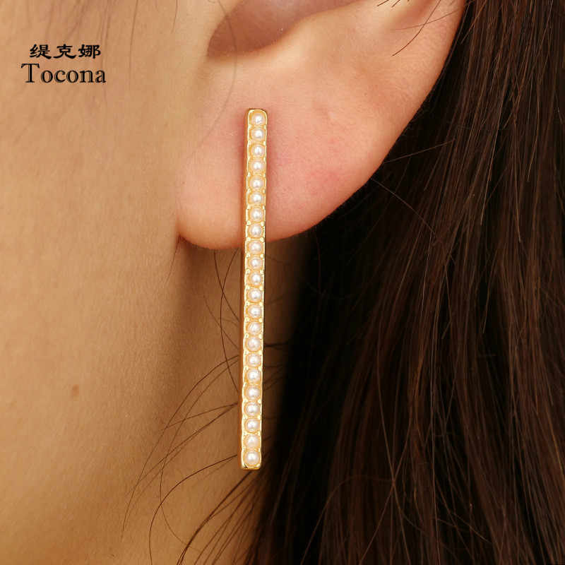 Tocona Factory Price New Trendy Stud Earrings Gold Color High Quality Hot Selling Earrings Jewelry For Women Ladies 6470