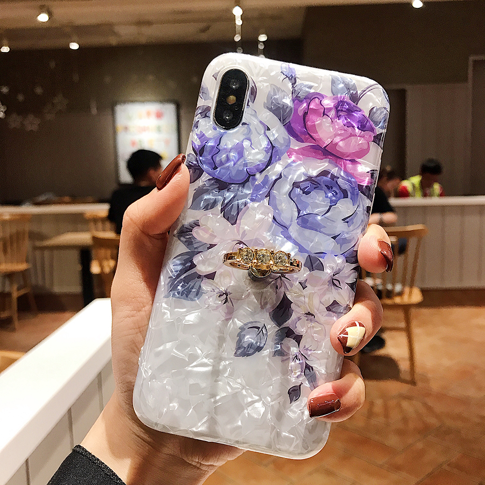 LOVECOM Retro Floral Ring Stand Phone Case For iPhone Models 11