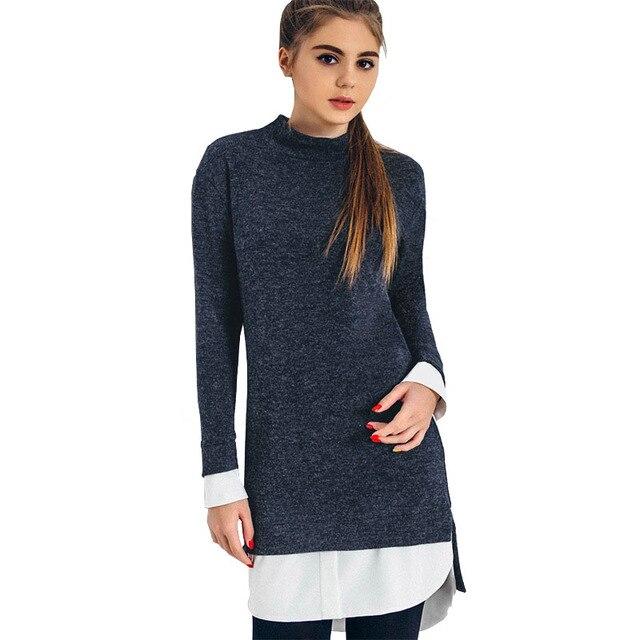 3e39f9803 Roupas de Inverno coreano Mulheres Blusas Quentes Azul Manga Comprida  Patchwork Side Dividir Assimétrica camisola de