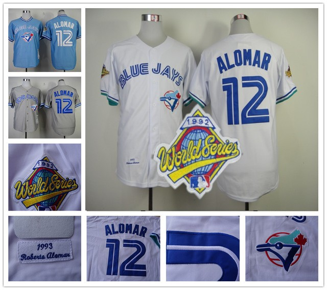 aa0ddc2af8e Roberto Alomar Jersey Throwback Retro Blue White Grey Baseball Toronto Blue  Jays Jerseys