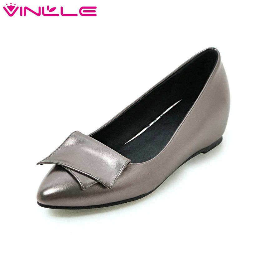 VINLLE 2018 Women Pumps Autumn Slip on Wedding Shoes Women Elegant Pointed Toe PU Spring Shoes Square Low Heel Pumps Size 34-43 red spring autumn women s low heel pumps flock plain pointed toe shallow slip on ladies casual single shoes zapatos mujer black