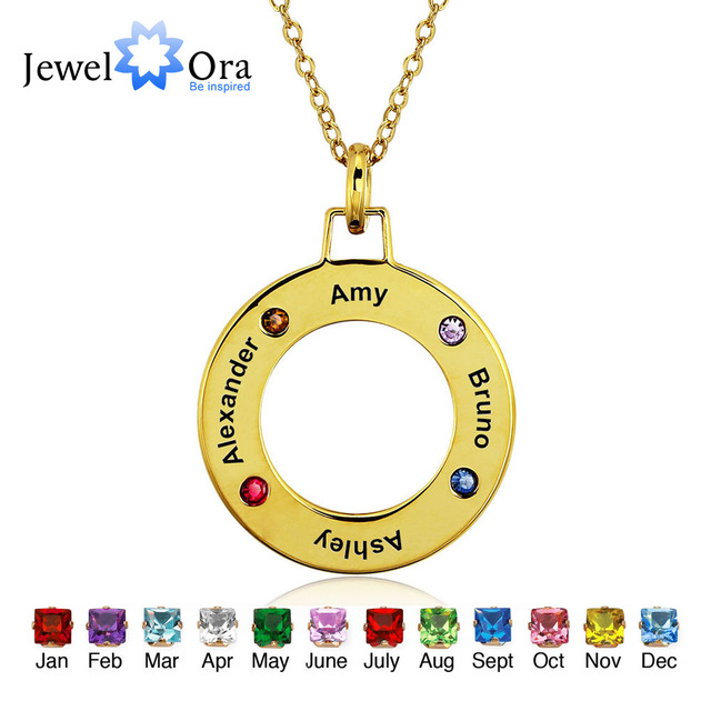 Personalized Engrave Pendants Necklaces Four Birthstone Round Shape 925 Sterling Silver Necklaces & Pendants (JewelOra NE101233)