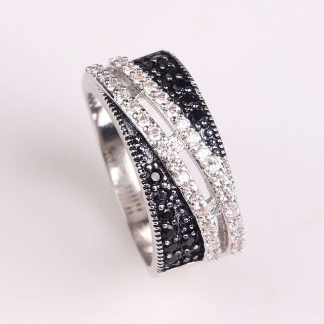 Jexxi прохладный finger ювелирные изделия белый & черный кубический цирконий кольца для женщин мужчины стерлингового серебра 925 модные аксессуары anillo