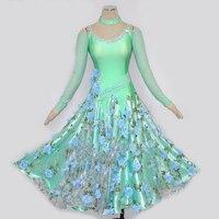 Standard Ballroom Dress Elegant Waltz Modern Dance Dresses For Ladies Red Green Purple Professional Women Flamenco Wear N4016