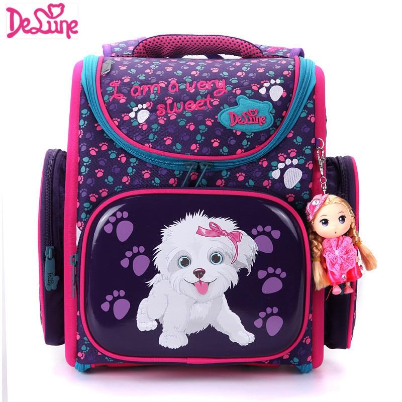 2018 Delune Brand Primary Grade 1-3 Kids Cute Cartoon Dog Owl Character School bag Children Girls Orthopedic School Backpack Bag