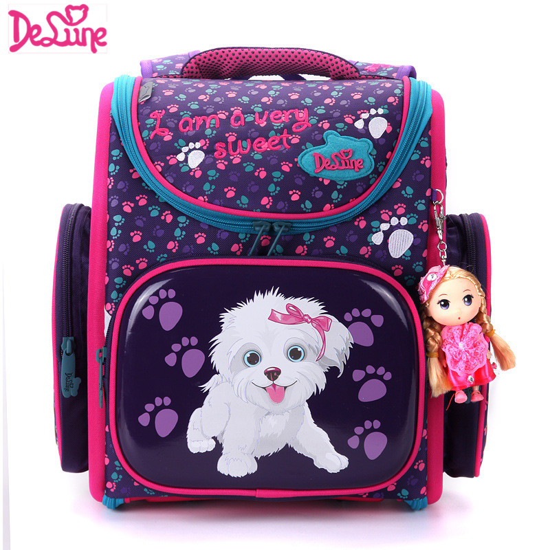 Delune Brand Primary Grade 1-3 Kids Cute Cartoon Dog Character School bags Children Orthopedic Deer School Backpacks For Girls delune new european children school bag for girls boys backpack cartoon mochila infantil large capacity orthopedic schoolbag