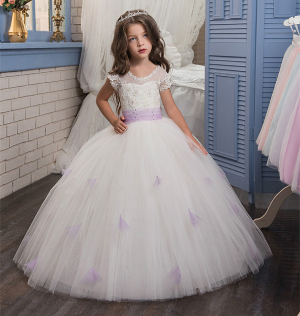 New Ball Gown Flower Girl Dresses O-neck Short Sleeves Appliques Lace Up Pageant Gown Vestidos Longo 2017 new flower girl dresses lace up appliques o neck short sleeves lace up first communion birthday dresses vestidos longo hot