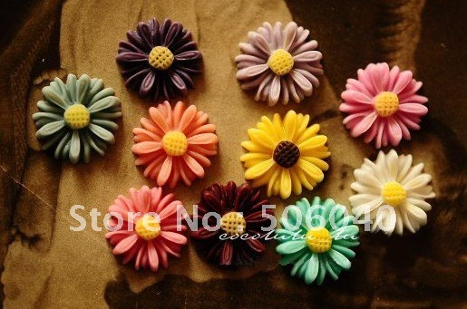 14mm 11 Colors Resin Cabochon African Chrysanthemum for Jewelry Decoration Wholesale 100pcs/lot