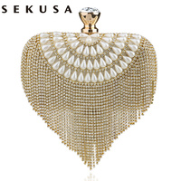 Newest Tassel Crystal Women Bag Luxury Imitation Pearl Evening Bags Wedding Beaded Day Clutches Small Purse