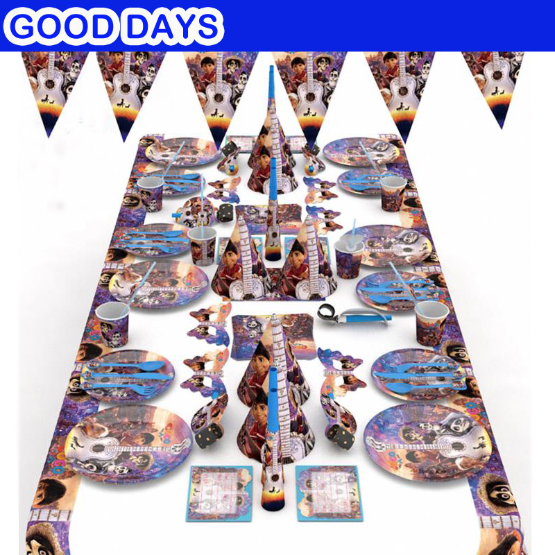 New coco Movie birthday party set supplies Coco balloon Plate Paper Cup Tablecloth Baby Birthday Party favor Kids Event