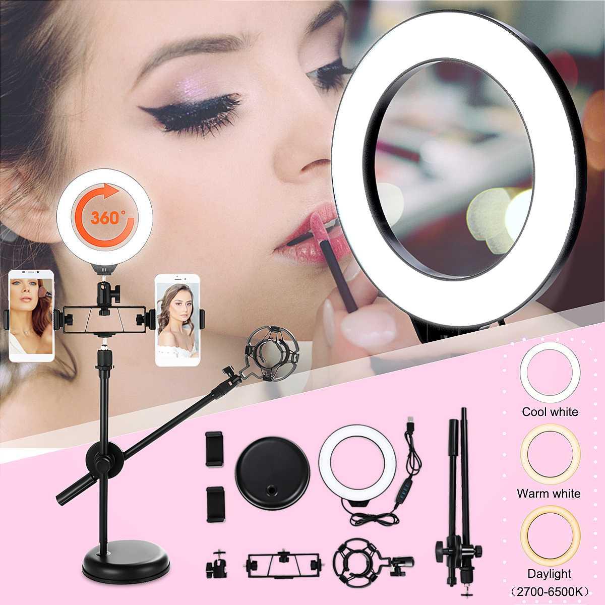 USB Dimmable Lumière D'anneau avec Support et support pour téléphone pour le Flux En Direct Maquillage caméra LED Ringlight Lampe pour La Photographie Vidéo DC5V
