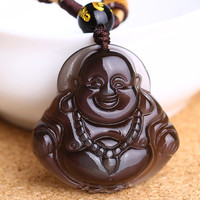 Natural Colorized Obsidian Pendant Maitreya Laughing Buddha Pendant Necklace Jewelry Free Ropeift for Men Women