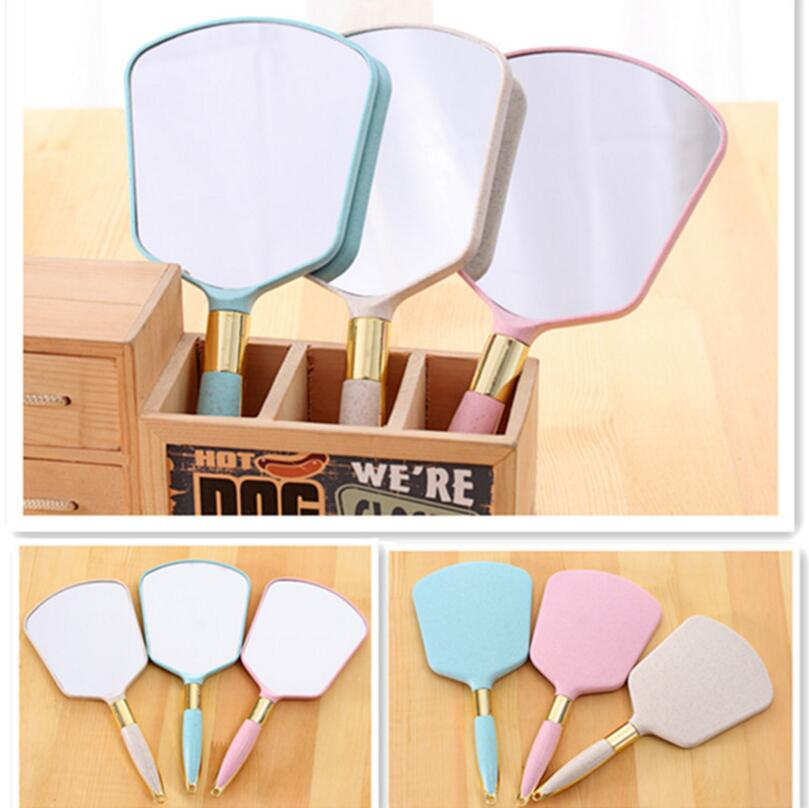 Cute Pink White Plastic Vintage square Hand mirrors Makeup Vanity Mirror Rectangle Hand Hold Cosmetic Mirror With Handle