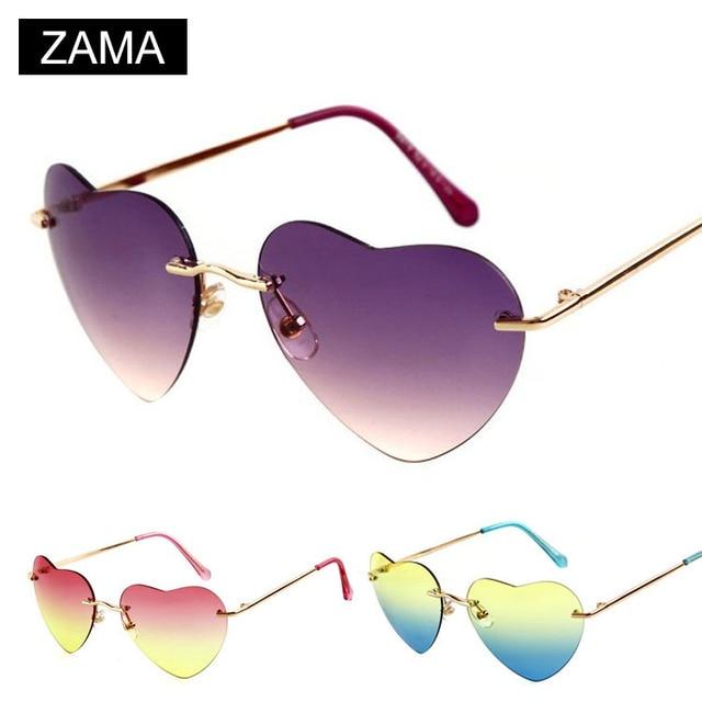 8963749485 Lady Heart Shaped Sunglasses women Lolita brand glasses Stylish rimless  rainbow color Eyewear gafas oculos de sol feminino 041