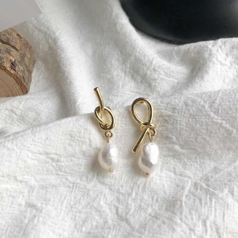 New Fashion Trendy S925 Silver Needle Geometric Irregular Natural Freshwater Pearl Asymmetric Drop Earrings For Women Pendientes