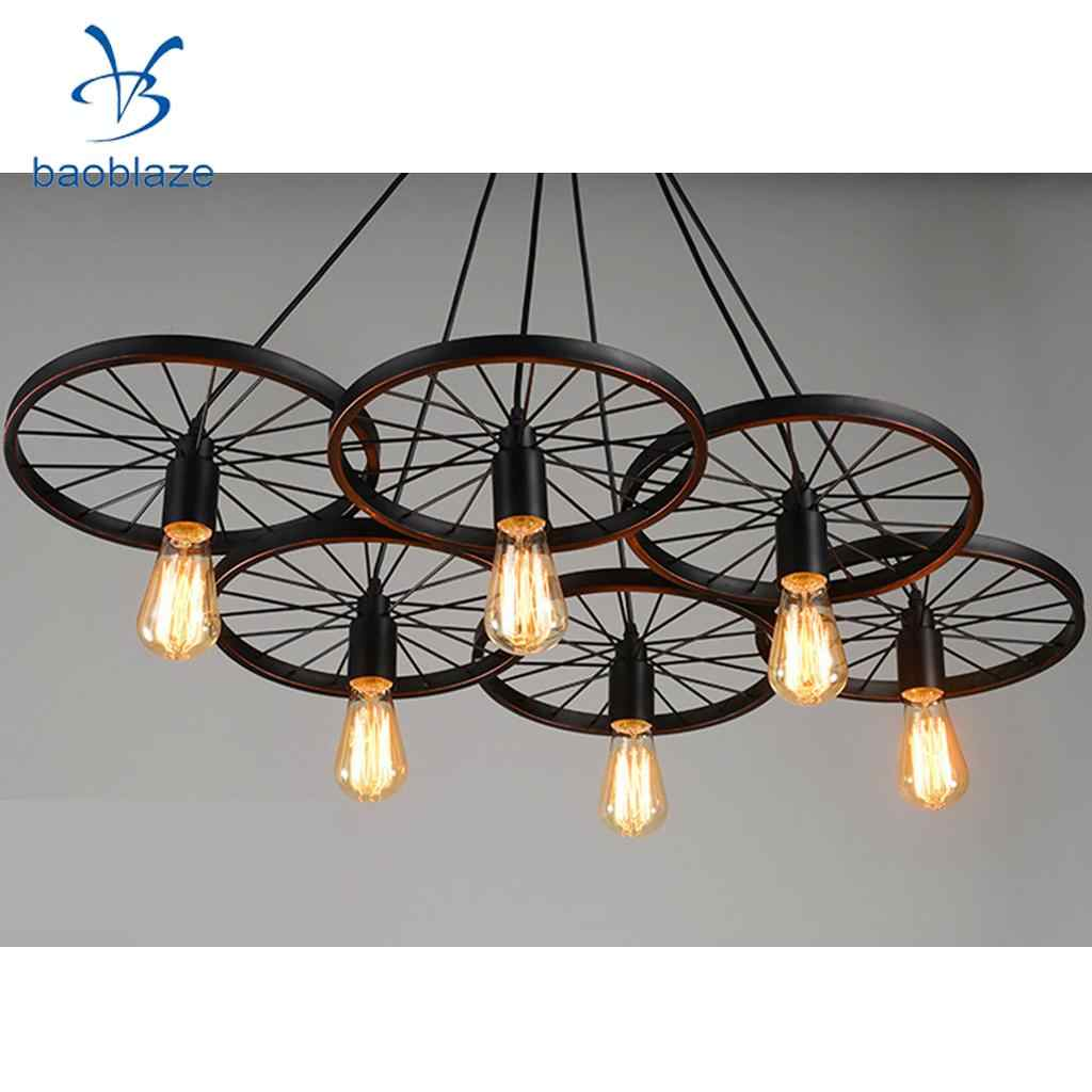 Industrial Vintage Iron Wheel Shade Ceiling Light Pendant Lamp Bulb Fixture Chandelier Bulb Not Included Lamp Covers Shades Aliexpress