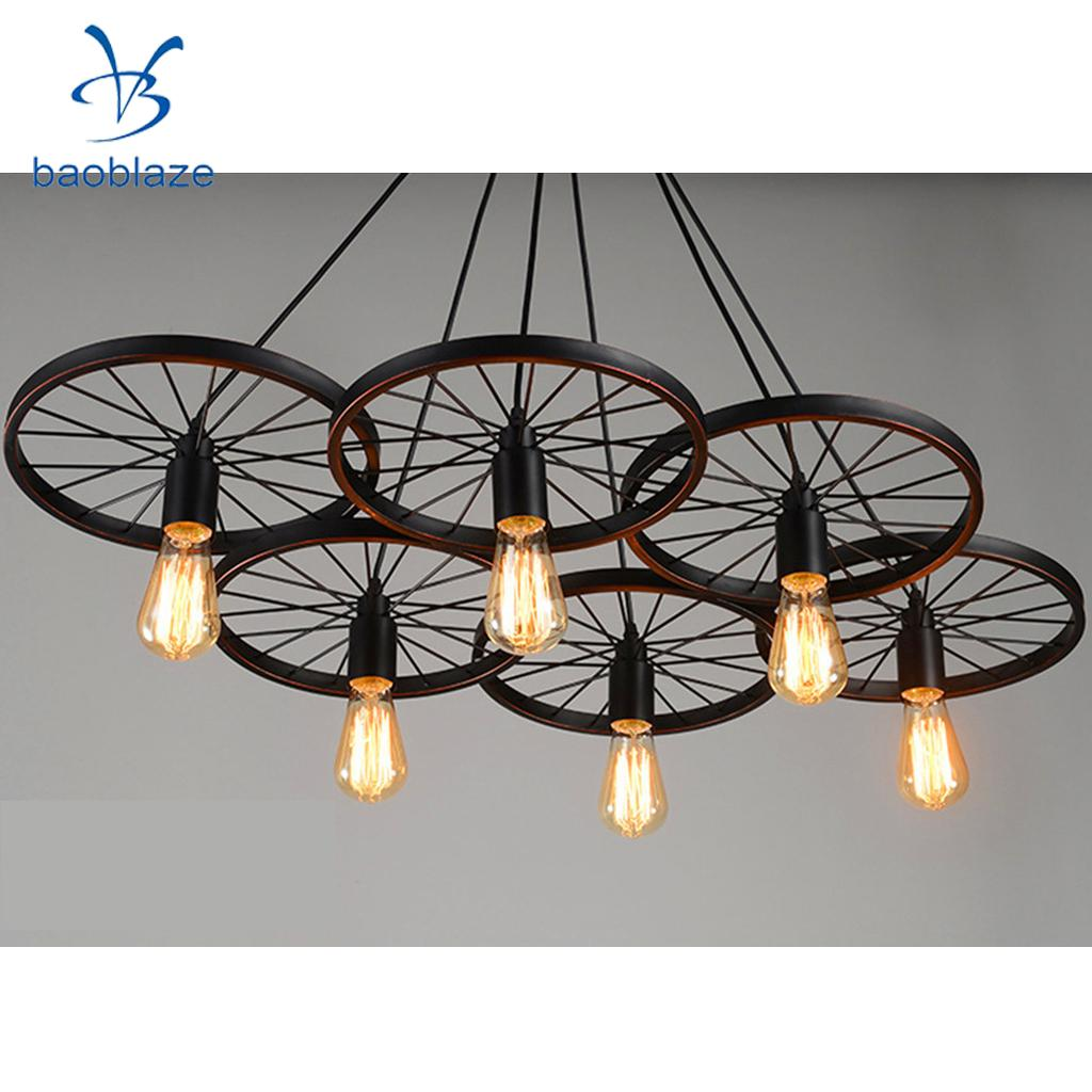 Industrial Vintage Iron Wheel Shade Ceiling Light Pendant Lamp Bulb Fixture Chandelier ( Bulb not included ) new modern pendant lamp vintage rustic metal lampshade light lustre shade hanging lamp fixture industrial include bulb