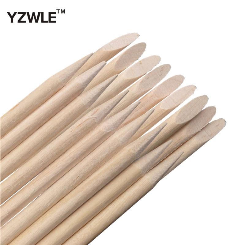 YZWLE 50 Pcs Nail Art Design Orange Wood Stick Cuticle Pusher Remover Manicure Care