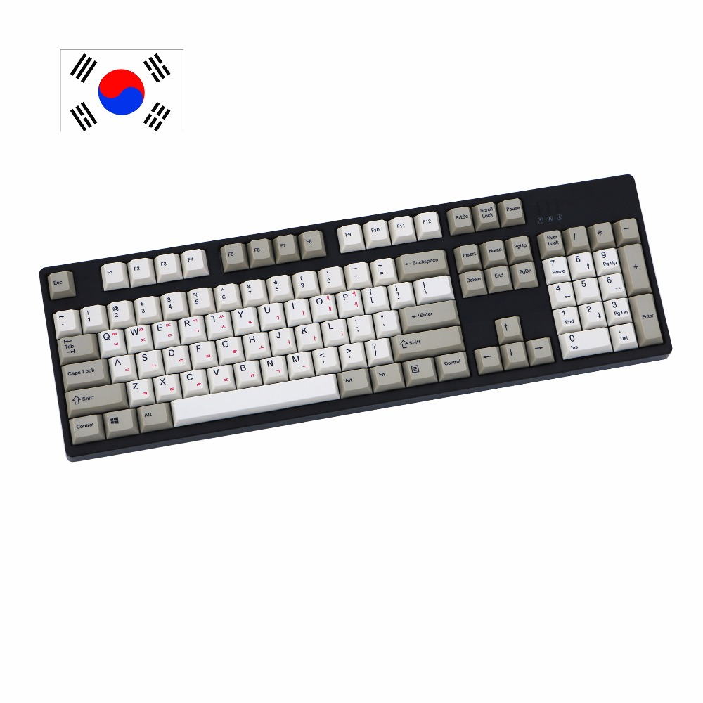 Retro style gray white mix Dye-Sublimated pbt 108 keys Korean print Cherry Filco Ducky Replace the keycaps Only sell keycaps gray and light grey mix dsa pbt 156 dye sublimated font print cherry mx switch mechanical keyboard keycap only sell keycaps