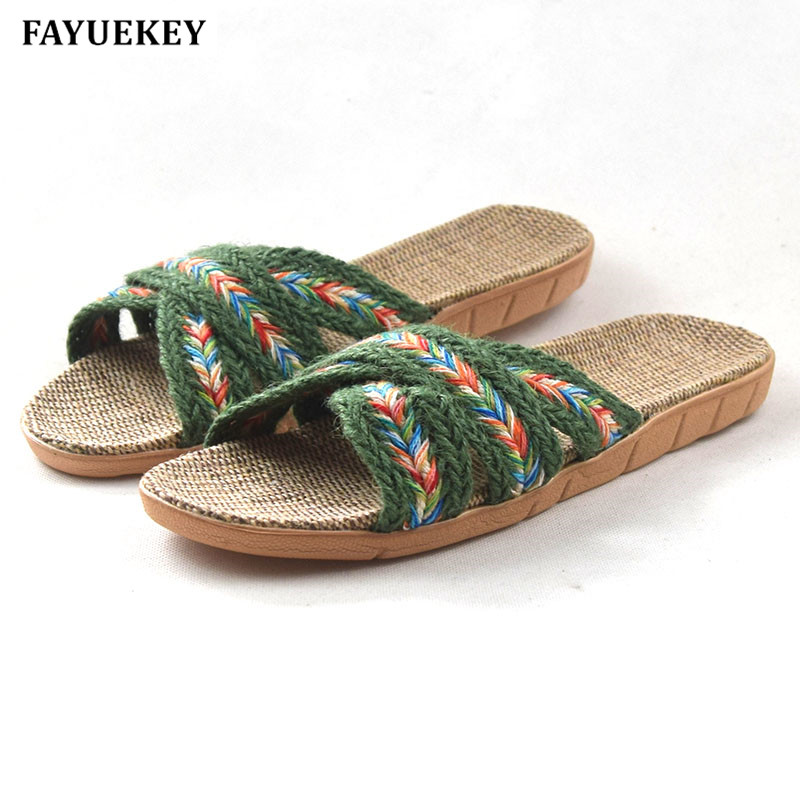 FAYUEKEY 2018 New Fashion Summer Home Non-slip Cotton Linen Slippers Women Indoor\ Floor Fashion Breathable Girls Flat Shoes fayuekey new fashion summer home striped linen slippers women indoor floor non slip beach slides flat shoes girls gift