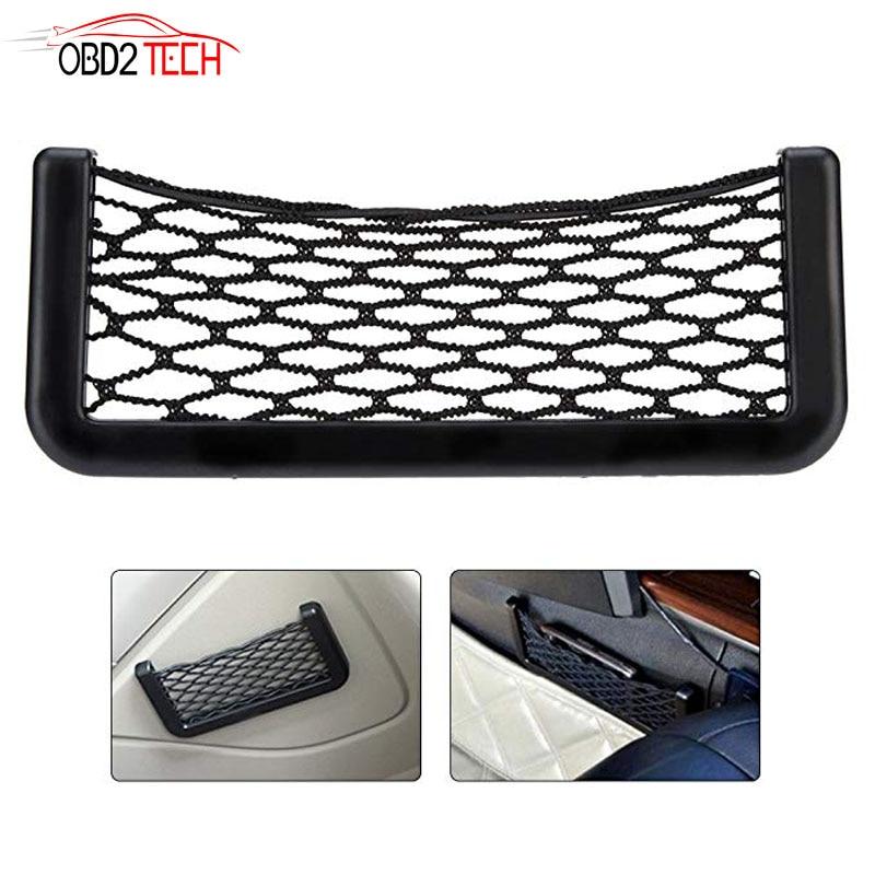 Universal Black Car Net Bag Phone Holder Storage Pocket Organizer Car Mesh Net Holder Pocket  For Wallet, Keys, Pens, And MORE