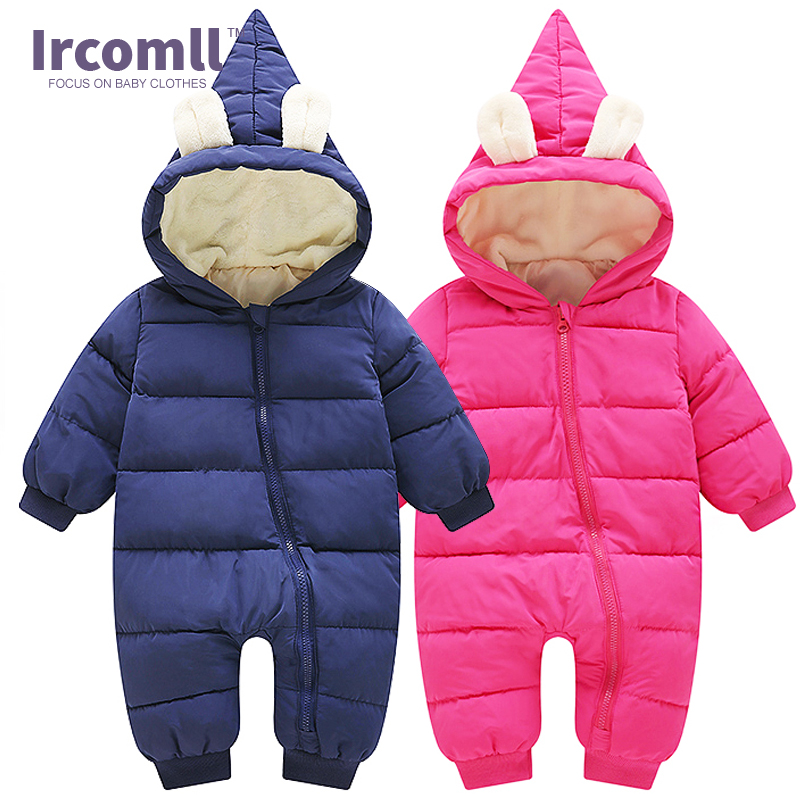 Ircomll 2017 Baby Warm Infant Romper Solid Long Sleeve Hooded Jumpsuit for Baby Toddler Clothes Outfit Winter Baby pajamas puseky 2017 infant romper baby boys girls jumpsuit newborn bebe clothing hooded toddler baby clothes cute panda romper costumes