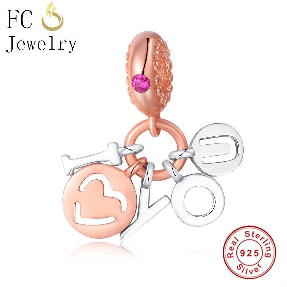 FC Jewelry 925 Sterling Silver Love Letter Heart Charm Bead Fit Original Pandora Charms Beads Bracelet Dangle Pendant DIY Gift