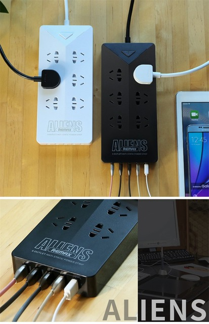 US $32 88 |Original Remax RU S4 Aliens Intelligent 4 2A Electrical Power  Strip Socket With 6 Outlets Plug 5 USB Charging Socket Adapter-in Plug With