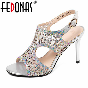 FEDONAS Summer Sexy Blingbling Buckle Women Sandals 2019 New SheepSkin Breathable Mesh Thin Heels Party Night Club Shoes Woman