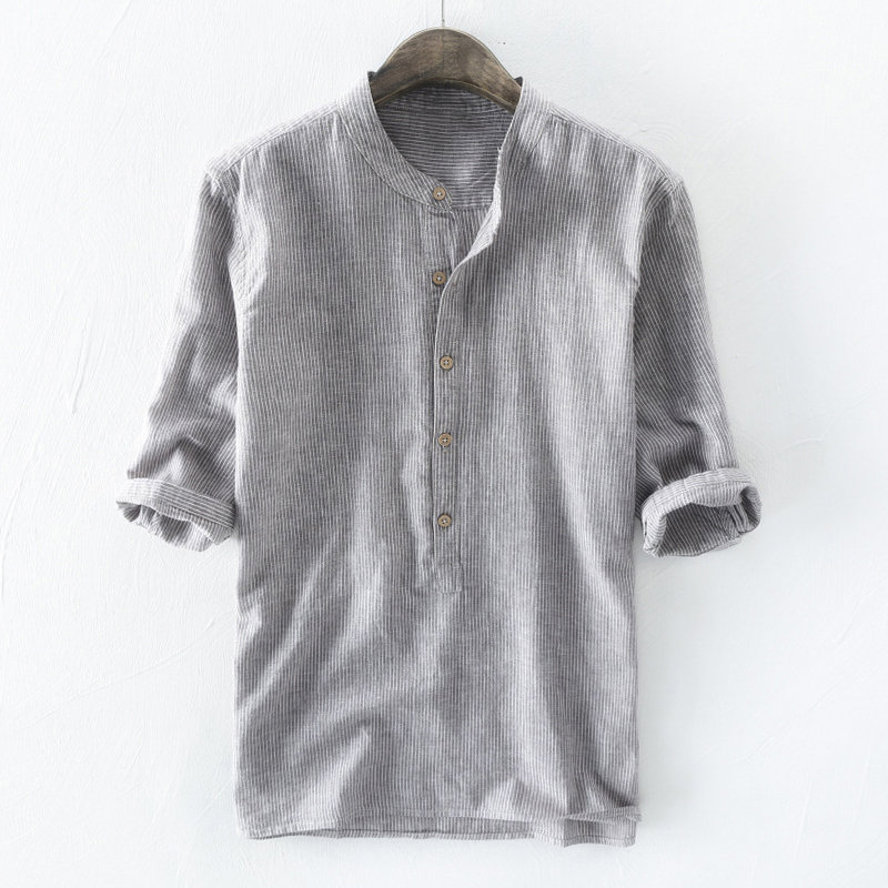 Collar Shirt Half-Sleeve Cotton Linen Casual Fashion Quality Solid S-5XL Brand Henry